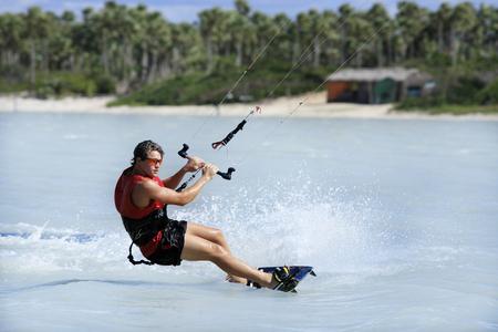young and talented kitesurfer in brazil tatajuba, Jericoacoara,ceara Stock Photo