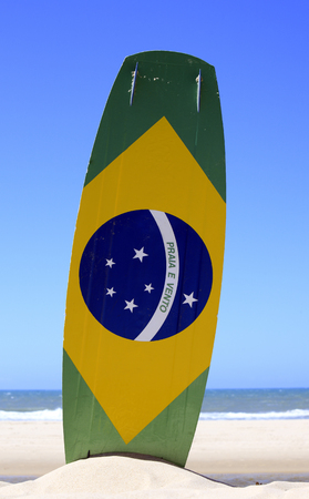 Kite surf with the brazilian flag painted on the board with