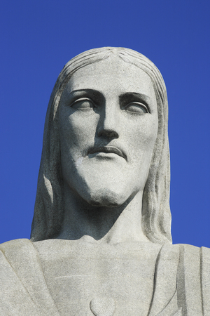 potrait corcovado christ redeemer in de janeiro brazil