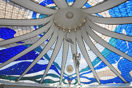 view f the roof from inside cathedral of brasilia city capital of brazil