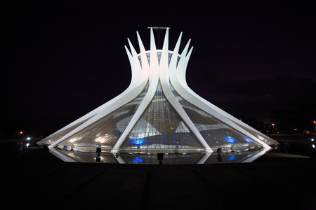 cathedral of brasilia city capital of brasil by night