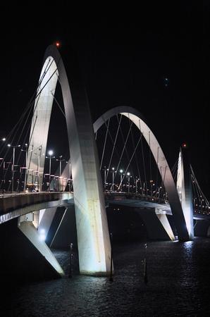 Juscelino Kubitschek bridge in  brasilia city capital of brazil by night Stock Photo