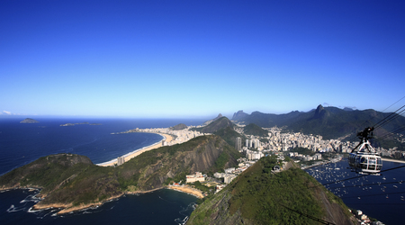 aerial view of botafogo and copacabana with the from the sugar loaf in rio de janeiro brazil Фото со стока