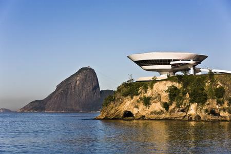 Museo de arte contemporáneo de niteroi cerca de janeiro en brasil