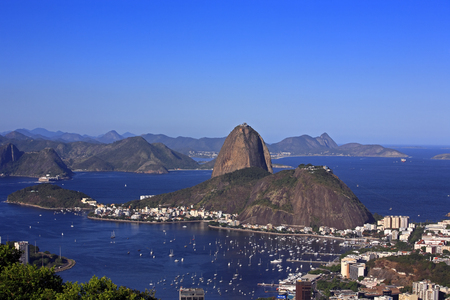 aerial view of botafogo and the sugar loaf in de janeiro brazil