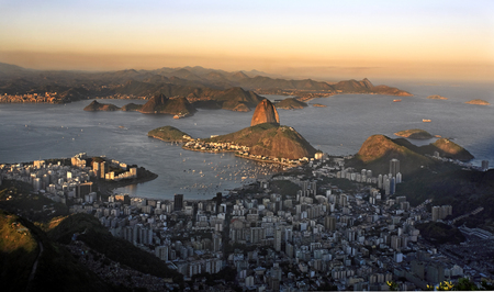 aerial view of botafogo and the sugar loaf in de janeiro brazil Stok Fotoğraf - 121743751