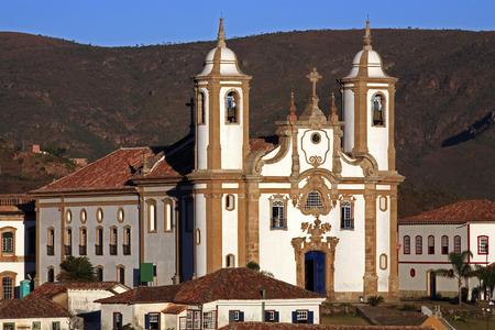 view of the igreja de nossa senhora do carmo ,city of ouro preto in minas gerais brazil 免版税图像
