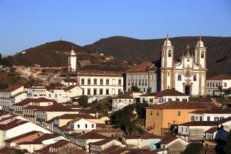 view of the igreja de nossa senhora do carmo , city of ouro preto in minas gerais brazil