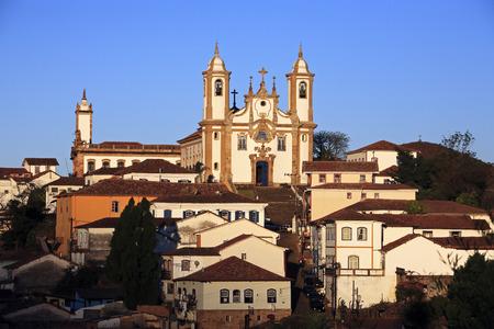 Vue sur l'igreja de nossa senhora do carmo , ville d'ouro preto dans le minas gerais brésil