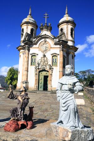 view of the Igreja de Sao Francisco de Assis , city of ouro preto in minas gerais brazil