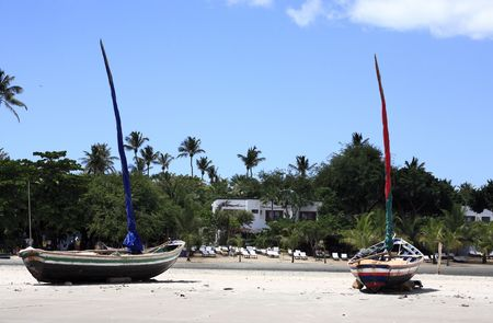 min beach of  the beautiful and hidden fisherman village of Jericoacoara in ceara state brazil Stock Photo