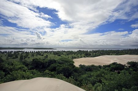 big sand dune of Mangue Seco in bahia state brazil Фото со стока