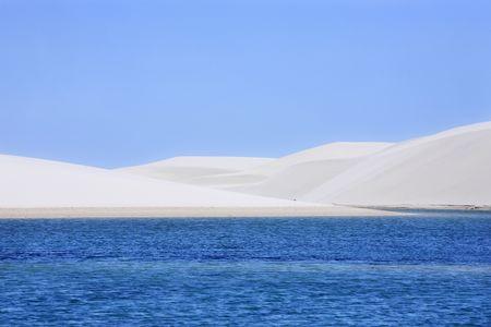 view of lagoa azul in desert sand dunes of the Lencois Maranheses National Park in brazil Reklamní fotografie - 121743998