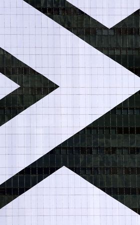detail of thousand windows of a building with geometric white stripe Stock fotó