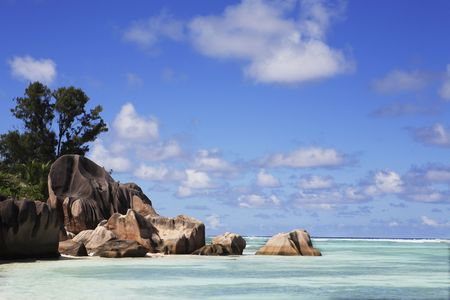 famous and beautiful beach of anse source d'argent at La Digue one of the seychelles island Stok Fotoğraf