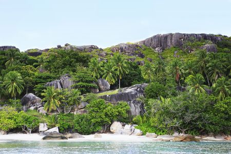 famous and beautiful white sand beach of anse Lazio at Praslin one of the seychelles island