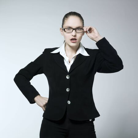 studio shot portrait of a beautiful young Angry Woman in a costume suit Stock Photo - 2966740