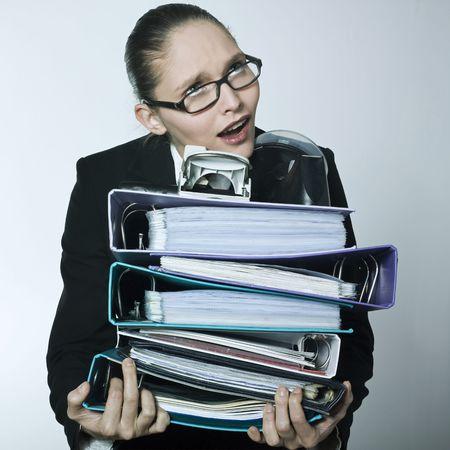 studio shot portrait of a beautiful young woman in a costume suit wearing heav Stock Photo - 2966673