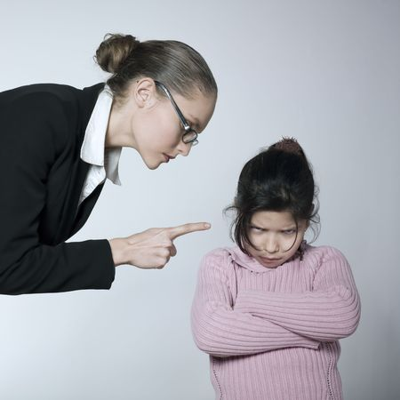 studio shot of a young woman having problem educate her child Stock Photo - 2966750