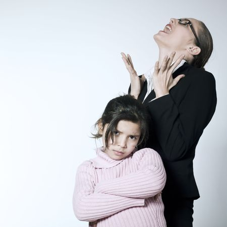 studio shot of a young woman having problem educate her child Stock Photo - 2966755