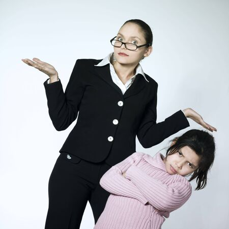 studio shot of a young woman having problem educate her child Stock Photo - 2966757