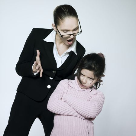 studio shot of a young woman having problem educate her child Stock Photo - 2966758