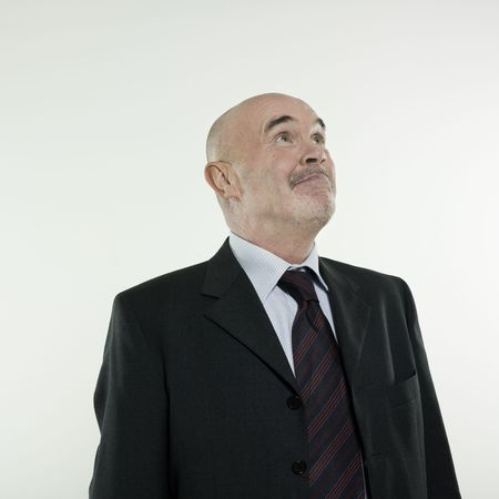 studio portrait isolated on white background of a smiling man senior Stock Photo - 3084001