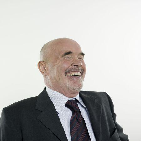 Studio Portrait isoliert auf weißem Hintergrund ein Mann senior