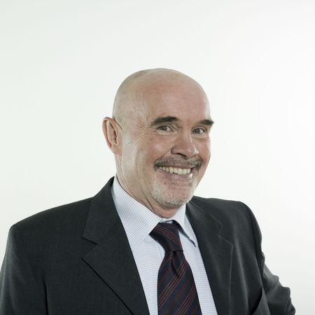 studio portrait isolated on white background of a smiling man senior Stock Photo - 3084003