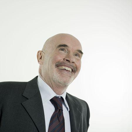 studio portrait isolated on white background of a smiling man senior Stock Photo - 3084005