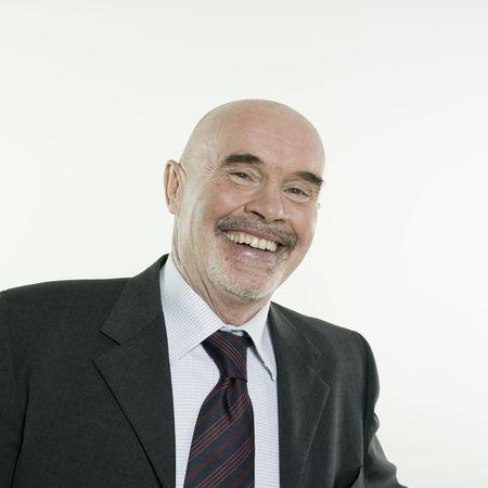 studio portrait isolated on white background of a smiling man senior Stock Photo - 3084006