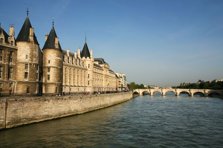 la conciergerie onthe seine river waterfront in the beautiful city of paris france