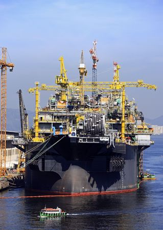 oil and gas in the big boat in the bay of rio of janeiro in brazil