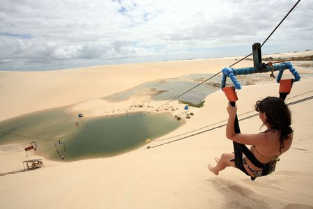 tyrolean traverse on canoa quebrada lagoon