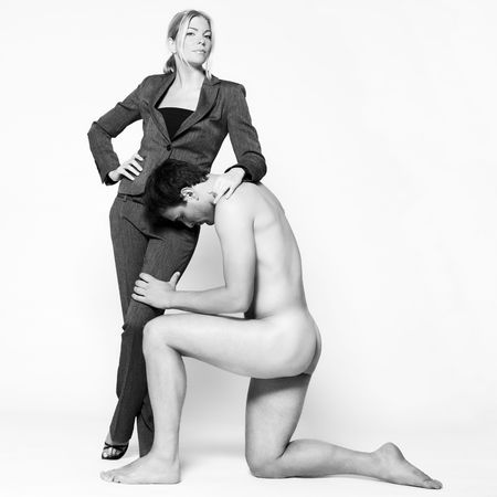 studio shot on isolated background of a beautiful heteroual couple with the man naked Stock Photo - 3540471