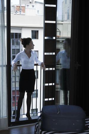 beautiful caucasian woman in a hotel bedroom Stock Photo - 3641235