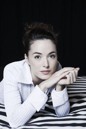 beautiful caucasian woman in a hotel bedroom Stock Photo - 3641662