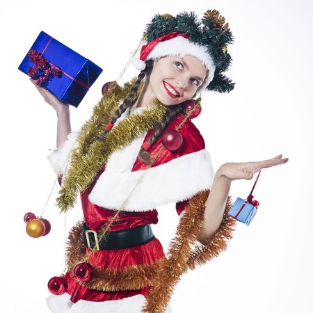 young funny and expressive woman dressed as santa claus is doing her shopping Stock Photo - 3660743