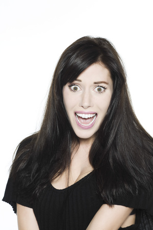 bewilder: studio shot portrait on isolated white background of a Beautiful Funny Woman expressive