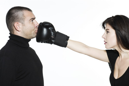 studio shot portrait on isolated white background of a Beautiful Funny couple expressive fighting Stock Photo - 3999463