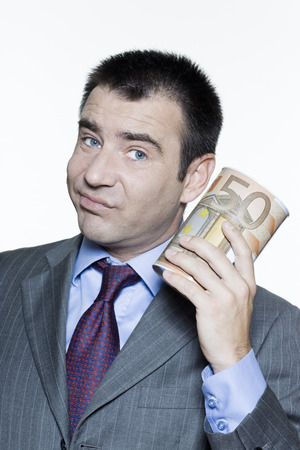 expressive portraits on isolated white background of a handsome  businessman on stock market crisis Stock Photo - 3999805