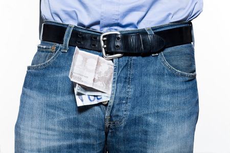 detail of a jean trousers denim with money indise Stock Photo - 3975624