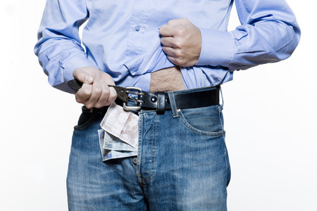 detail of a jean trousers denim with money indise Stock Photo - 3975625