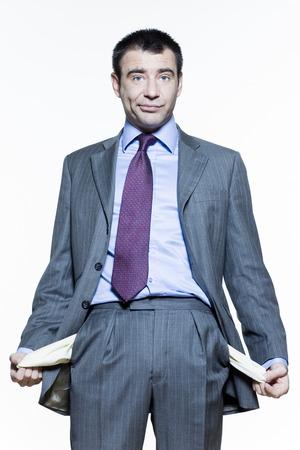crisis economica: expresivos retratos aislados sobre fondo blanco de un apuesto hombre de negocios en la bolsa de crisis LANG_EVOIMAGES
