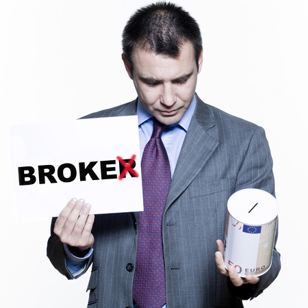 expressive portraits on isolated white background of a handsome  businessman on stock market crisis Stock Photo - 4006761