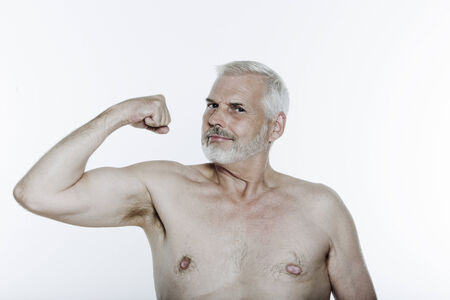 expressive portrait of a handsome senior man on isolated background Stock Photo - 3999450