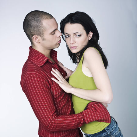 young couple conflict on isolated background Stock Photo - 3999809