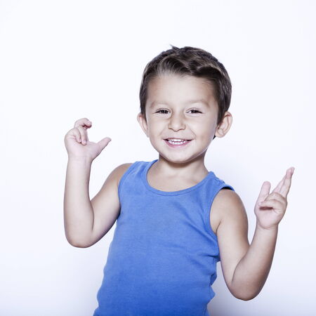 charming and expressive child portrait studio isolated background Stock Photo - 5857788