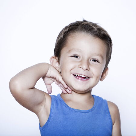 european expression face: charming and expressive child portrait studio isolated background