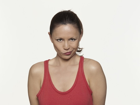 cute woman expressive on isloated white background Stock Photo - 5978189